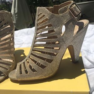 Delicious Shaky Sparkly Gold caged heels